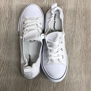 White Black Striped Cinched Ankle Lace Up Sneakers